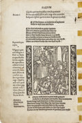Books:Early Printing, Printed Leaf from the First Edition of Alexander Barclay's Englishtranslation of Sebastian Brant's Ship of Fools,...