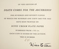 Books:Signed Editions, Willa Cather. Death Comes for the Archbishop. With Drawingsand Designs by Harold Von Schmidt. New York: Alfred ...