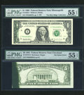 Error Notes:Error Group Lots, Fr. 1922-I $1 1995 Federal Reserve Note. PMG About Uncirculated 55EPQ;. Fr. 1976-D $5 1981 Federal Reserve Note. PMG About Un...(Total: 2 notes)