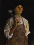Fine Art - Painting, Russian:Modern (1900-1949), ALEKSANDR GERASIMOV (Russian, 1881-1963). Young Miner. Oilon canvas. 30-1/4 x 23 inches (76.8 x 58.4 cm). ...