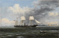Fine Art - Painting, American:Antique  (Pre 1900), XANTHUS SMITH (American, 1839-1929). United States SteamerKearsage Leaving Boston Harbor, 1869. Oil on canvas . Signed...