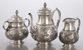Silver Holloware, American:Tea Sets, AN AMERICAN SILVER THREE-PIECE TEA SET. Edward C. Moore, New York,New York, circa 1865. Marks: TIFFANY & CO., 858 8992, Q...(Total: 3 Items)