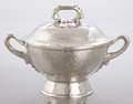 Silver & Vertu:Hollowware, AN AMERICAN SILVER AND SILVER GILT SMALL TUREEN WITH COVER. Tiffany & Co., New York, New York, circa 1879. Marks: TIFFANY ...