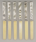 Silver Flatware, American:Tiffany, A SET OF SIX AMERICAN SILVER AND MIXED METALS DESSERT KNIVES.Tiffany & Co., New York, New York, circa 1890. Marks:TIFFAN... (Total: 6 Items)