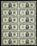 Small Size:Silver Certificates, Fr. 1654 $5 1934D Wide I Silver Certificates. Uncut Sheet of 12. About Uncirculated.. ...