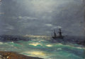 Fine Art - Painting, Russian, IVAN KONSTANTINOVICH AIVAZOVSKY (Russian, 1817-1900). Seascape. Oil on board. 4-3/4 x 6-3/4 inches (12.1 x 17.1 cm). Sig...