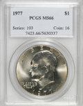 Eisenhower Dollars: , 1977 $1 MS66 PCGS. PCGS Population (679/13). NGC Census: (232/6). Mintage: 12,596,000. Numismedia Wsl. Price for NGC/PCGS c...