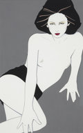 Paintings, PATRICK NAGEL (American 1945 - 1984). Playboy After Hours illustration, August 1980. Acrylic on board. 19 x 12 in.. Not ...