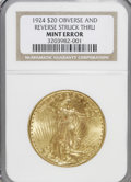 Errors, 1924 $20 Double Eagle--Obverse and Reverse Struck Thru--No Grade NGC....
