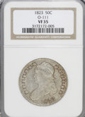 Bust Half Dollars: , 1823 50C . VF35 NGC. O-111. NGC Census: (9/555). PCGS Population(21/515). Mintage: 1,694,200. Numismedia Wsl. Price for NG...