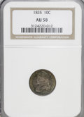 Bust Dimes: , 1835 10C AU58 NGC. NGC Census: (73/243). PCGS Population (43/151).Mintage: 1,410,000. Numismedia Wsl. Price for NGC/PCGS c...