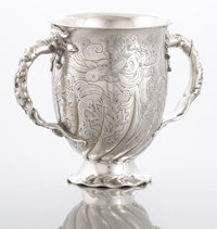 AN AMERICAN SILVER AND SILVER GILT LOVING CUP Gorham Manufacturing Co., Providence, Rhode Island, 1885 Marks: (