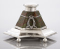 Silver Smalls:Other , A FRENCH REVERSE PAINTED GLASS AND SILVER INKWELL. Unidentifiedmaker, circa 1900. Marks: (Minerva head), G. 5 high x 7-...