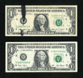 Error Notes:Ink Smears, Fr. 1908-D $1 1974 Federal Reserve Note. Very Fine;. Fr. 1926-H $12001 Federal Reserve Note. Fine.. ... (Total: 2 notes)
