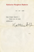 Movie/TV Memorabilia:Autographs and Signed Items, Katharine Hepburn Signed Letter.... (Total: 2 Items)