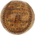 Baseball Collectibles:Balls, 1908 Baseball Dropped from Top of Washington Monument Caught byGabby Street....