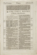Books:Early Printing, [Bible in English]. Original leaf from the 1613 folio edition of the King James Bible ...