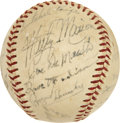 Autographs:Baseballs, 1952 St. Louis Browns Team Signed Baseball with Paige and Hornsby....
