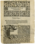 Books:Early Printing, [Bible in English]. Black letter Bible leaf from Tyndale's Version printed by R. Jugge in 1552....