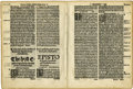 Books:Early Printing, [Bible in English]. Two Roman and black letter bi-folio Bible leaves...