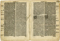 Books:Early Printing, [Bible in English]. Two Roman and black letter bi-folio Bible leaves ...