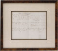 "Autographs:Military Figures, Confederate Cavalry Lieutenant General Wade Hampton Document Signed. One page, 10"" x 8"", matted and framed to an overall siz..."