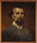 """Military & Patriotic:Civil War, Nathan Bedford Forrest Portrait. Signed in the lower left by Richard S. Headley, dated 1997, oil on masonite, 19.5"""" x 23.5"""",..."""
