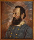 "Military & Patriotic:Civil War, Stonewall Jackson Portrait. Signed in the lower right by Richard S. Headley, dated 1996, oil on masonite, 19.5"" x 23.5"", fra..."