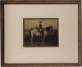 "Military & Patriotic:Civil War, Robert E. Lee and Traveller Photograph Taken by Photographer Michael Miley. Taken circa 1866-68, 9"" x 7"", framed under glass..."
