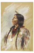 Military & Patriotic:Civil War, Marie Dunlap Painting of a Native American. Marie Dunlap (1876-1963) was the daughter of Paris, Tennessee attorney William A...
