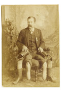 Photography:Cabinet Photos, Shocking Cabinet Card Photo and Autobiography of AndersonvillePrison Victim John Wales January. A sepia-tone, circa 1880s, ...