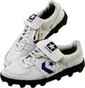 Football Collectibles:Uniforms, Tony Dorsett Game used Dallas Cowboys Shoes. White Converse turf game used shoes used by Tony Dorsett of the Dallas Cowboys...