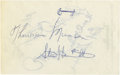 Autographs:Letters, Thurman Munson Cut Signature. While a total of eight signaturesappear on the two sides of this cut, the real value of the ...