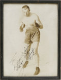 """Boxing Collectibles:Autographs, Jack Sharkey Signed Photograph. Nice boxing pose for this 8x10"""" sepia print. Signed in black fountain pen """"To Dr. Adam P. L..."""