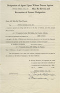 Autographs:Others, 1949 Joe Cronin Signed Document. Excellent vintage document dating from 1949 which transfers the duty of agent for the Orov...
