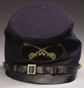 """Military & Patriotic:Civil War, Union Model 1858 Cavalry Officer's Forage """"McDowell"""" Cap, 8.25"""" wide x 9"""" long, leather panel inside crown maker-marked by S..."""