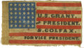 Political:Textile Display (pre-1896), Grant and Colfax Cloth Campaign Flag. Campaign flags are among themost desired of 19th century campaign items owing to thei...