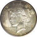 Peace Dollars: , 1928-S $1 MS65 PCGS. VAM-4. IN GOD WE TRUST is die doubled, afeature particularly clear on t...
