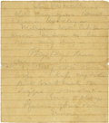 """Autographs:Military Figures, Confederate General George E. Pickett Autograph Letter Signed """"G """", one page 5"""" x 5.5"""", front and verso, [n.p., n.d.], i..."""