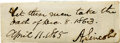 """Autographs:U.S. Presidents, Abraham Lincoln Signed Pardon """"A. Lincoln"""", 2.75"""" x 1"""",April 11, 1865, n.p. (Lincoln was in Washington, D. C. at th..."""