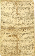 """Autographs:Military Figures, Wyoming Valley Land Swindle Document. Two pages, 7.75"""" x 12"""", n.p., c. 1760-1762...."""