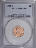 Lincoln Cents: , 1972-D 1C MS63 Red PCGS. PCGS Population (14/417). NGC Census:(2/128). (#2956)...