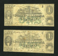 Obsoletes By State:Alabama, Montgomery, AL- State of Alabama $1 Jan. 1, 1863 Two Examples. ...(Total: 2 notes)