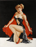 Pin-up and Glamour Art, PETER DRIBEN (American 1903 - 1975). Pin up illustration.Oil on board. 35 x 26.75 in.. Signed lower left. ...