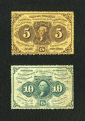 Fractional Currency:First Issue, Two First Issue Perforated Edges With Monogram Fractionals.. ... (Total: 2 notes)