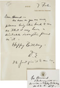 Autographs:U.S. Presidents, Dwight D. Eisenhower Handwritten Letter and Note Signed asPresident to his longtime personal physician and friend HowardMc... (Total: 2 Items)
