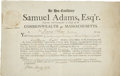 "Autographs:Statesmen, Samuel Adams Document Signed as governor of Massachusetts andcountersigned by ""John Avery Secy"". ..."