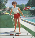 Pin-up and Glamour Art, GIL ELVGREN (American 1914 - 1980). Girl Playing Shuffleboard,NAPA ad illustration. Oil on canvas. 31 x 28 in.. Signed ...