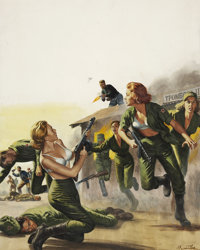 MORT Künstler (American b. 1931) Attack On the Red Army's Female Barracks, For Men Only cover, October