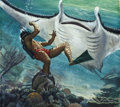 Pulp, Pulp-like, Digests, and Paperback Art, MORT KÜNSTLER (American b. 1931). Double Trouble, The GiantManta-Ray, Adventure cover, February 1956. Gouache on board...